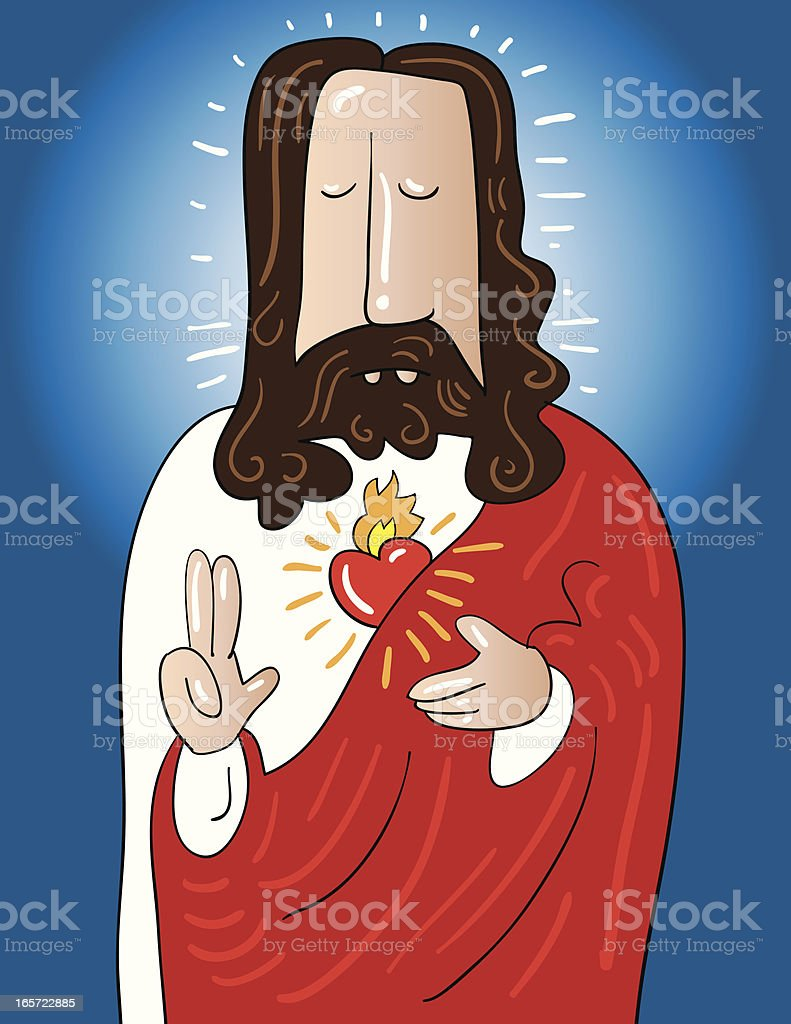 A cartoon of Jeaus with focus on his heart royalty-free stock vector art