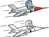 Cartoon of Jet Fighter Pilot