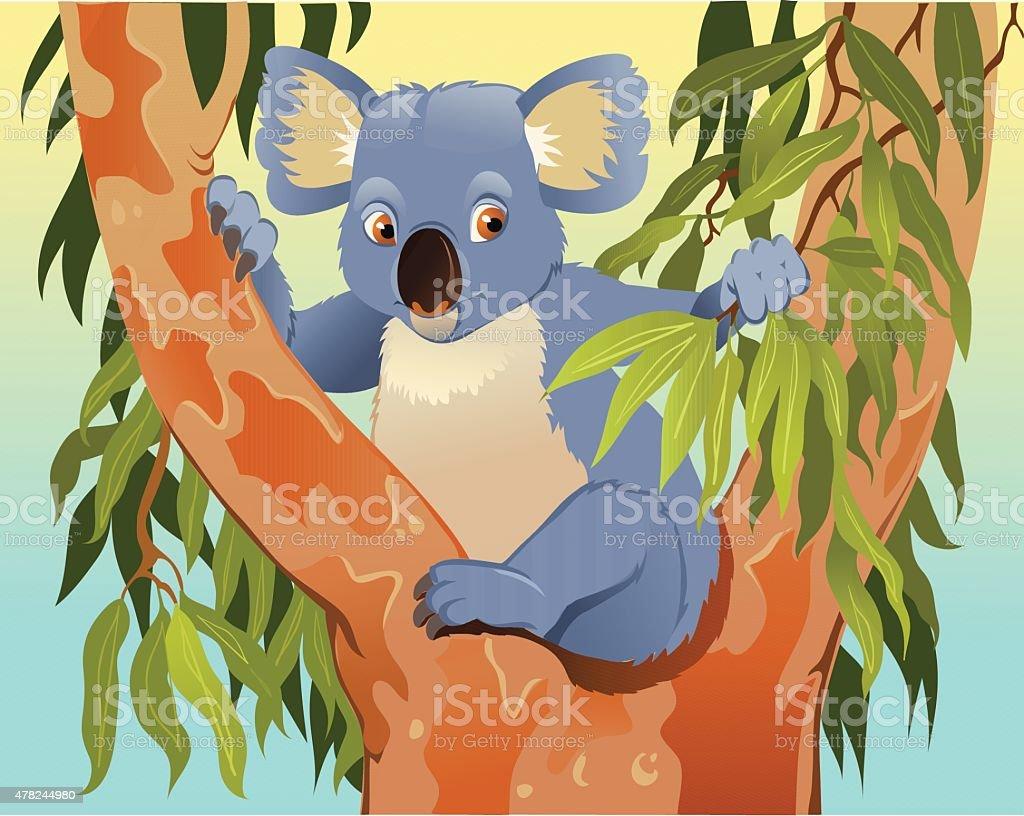Cartoon of Koala in the Tree vector art illustration
