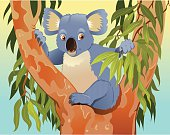 Cartoon of Koala in the Tree