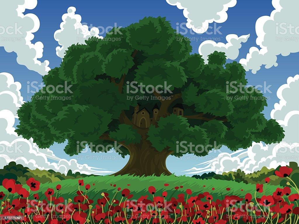 Cartoon of Large Tree in Poppy Field