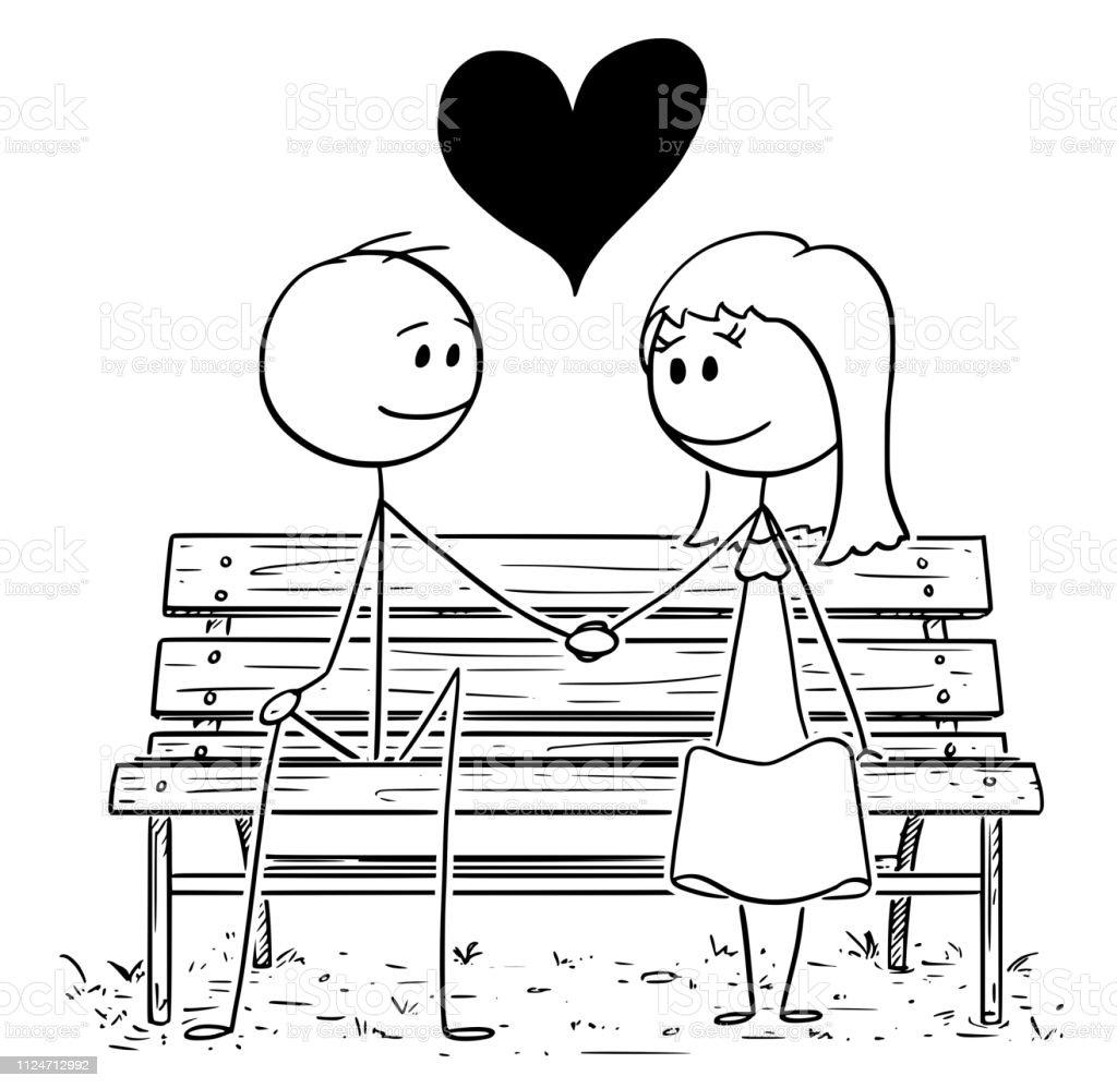 Ilustración De Dibujos Animados De Amor Pareja Sentado En El Banco