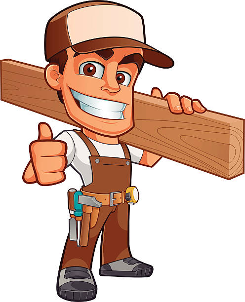 cartoon of male carpenter with thumbs up - carpenter stock illustrations, clip art, cartoons, & icons