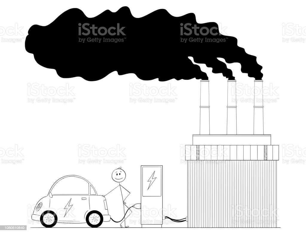Cartoon Of Man Charging Electric Car By Power From Coal Plant Charger Diagram Royalty Free
