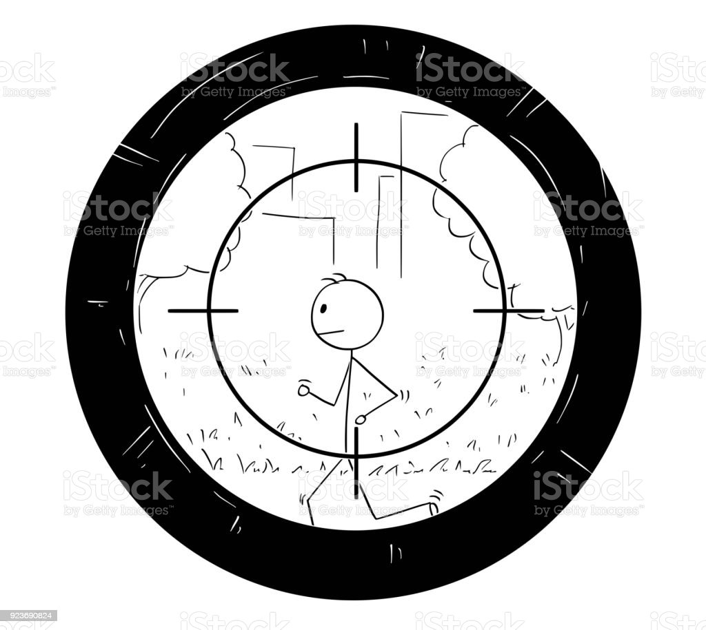 Cartoon of Man Doing Jog Being Targeted by Sniper Scope vector art illustration