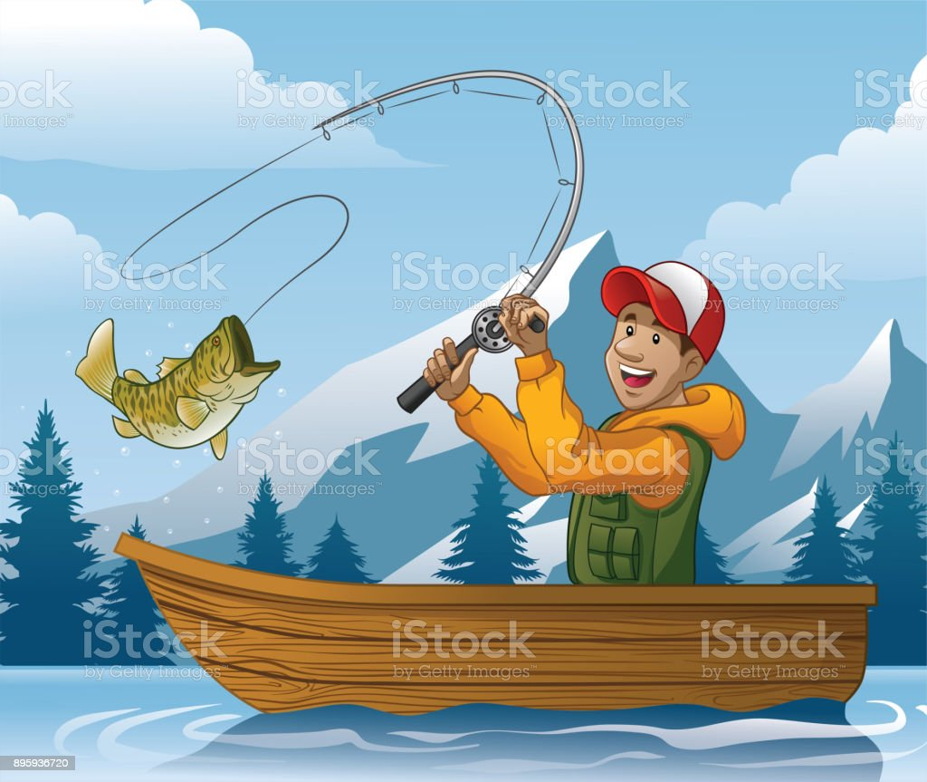 Ilustración De Caricatura De Hombre De Pesca En Barco Y Más Vectores