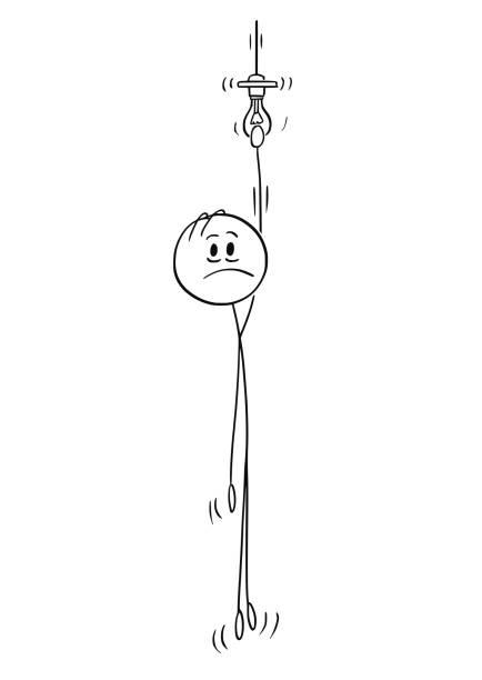 illustrazioni stock, clip art, cartoni animati e icone di tendenza di cartoon of man hanging on the light bulb of pendant light - uomo artigiano gioielli