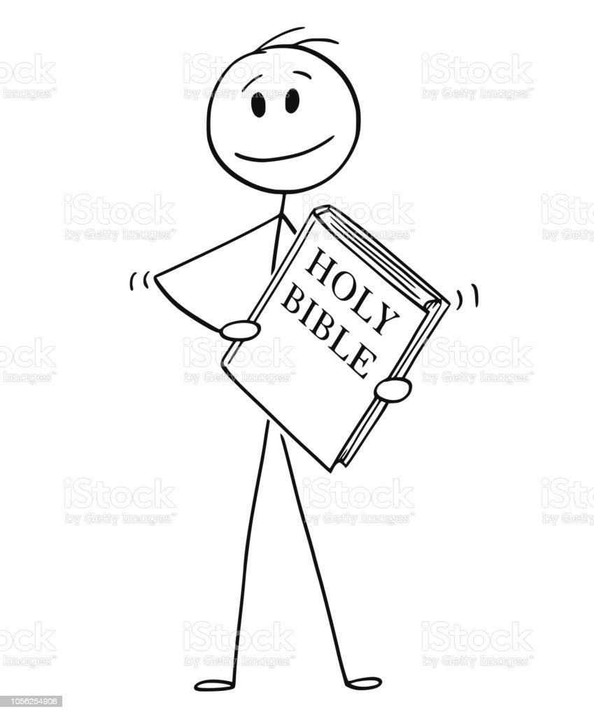 Vetores De Desenho Animado Do Homem Segurando O Livro Da Biblia