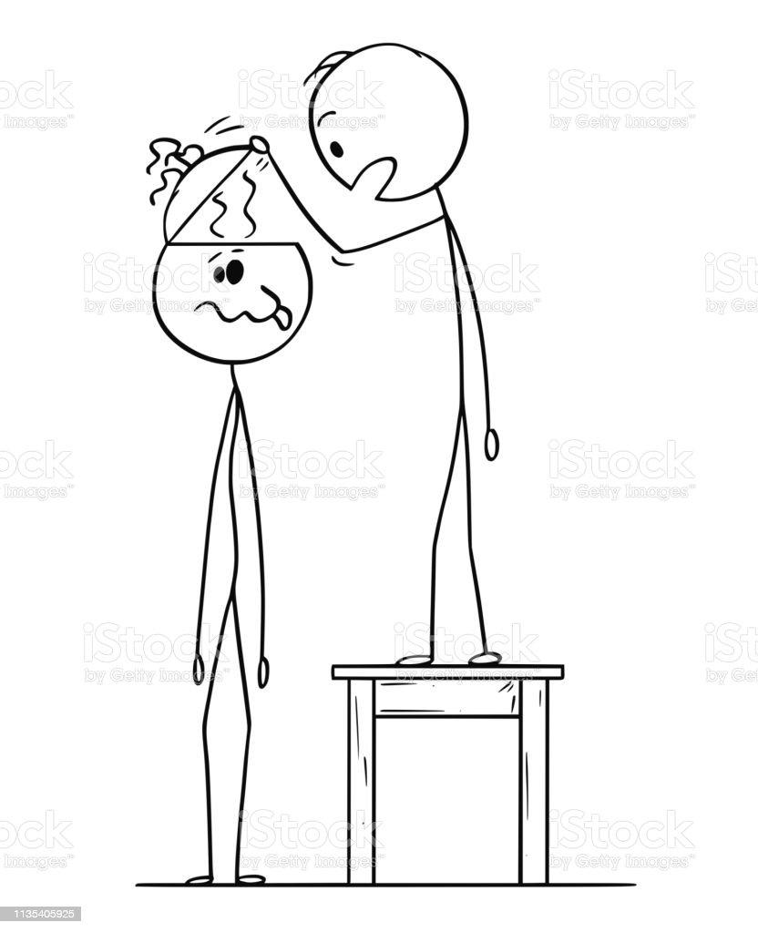 Cartoon stick figure drawing conceptual illustration of man looking...