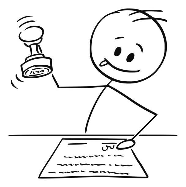 illustrations, cliparts, dessins animés et icônes de dessin animé de l'homme, notaire ou travailleur de col blanc emboutissant un document avec le timbre en caoutchouc - notaire