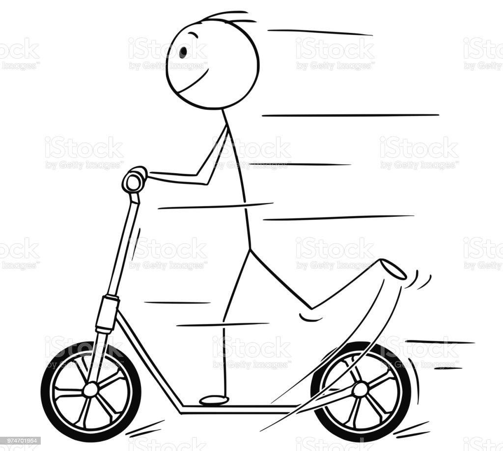 Caricature Dhomme Ou Un Garcon Ils Utilisent De La Trottinette Vecteurs Libres De Droits Et Plus D Images Vectorielles De Activite Avec Mouvement Istock