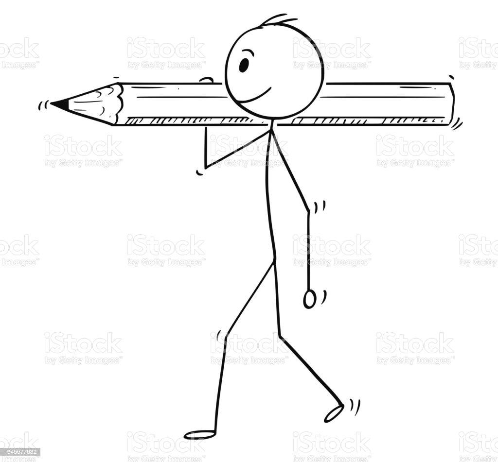 Caricature de l'homme ou l'homme d'affaires transportant de gros crayon - Illustration vectorielle