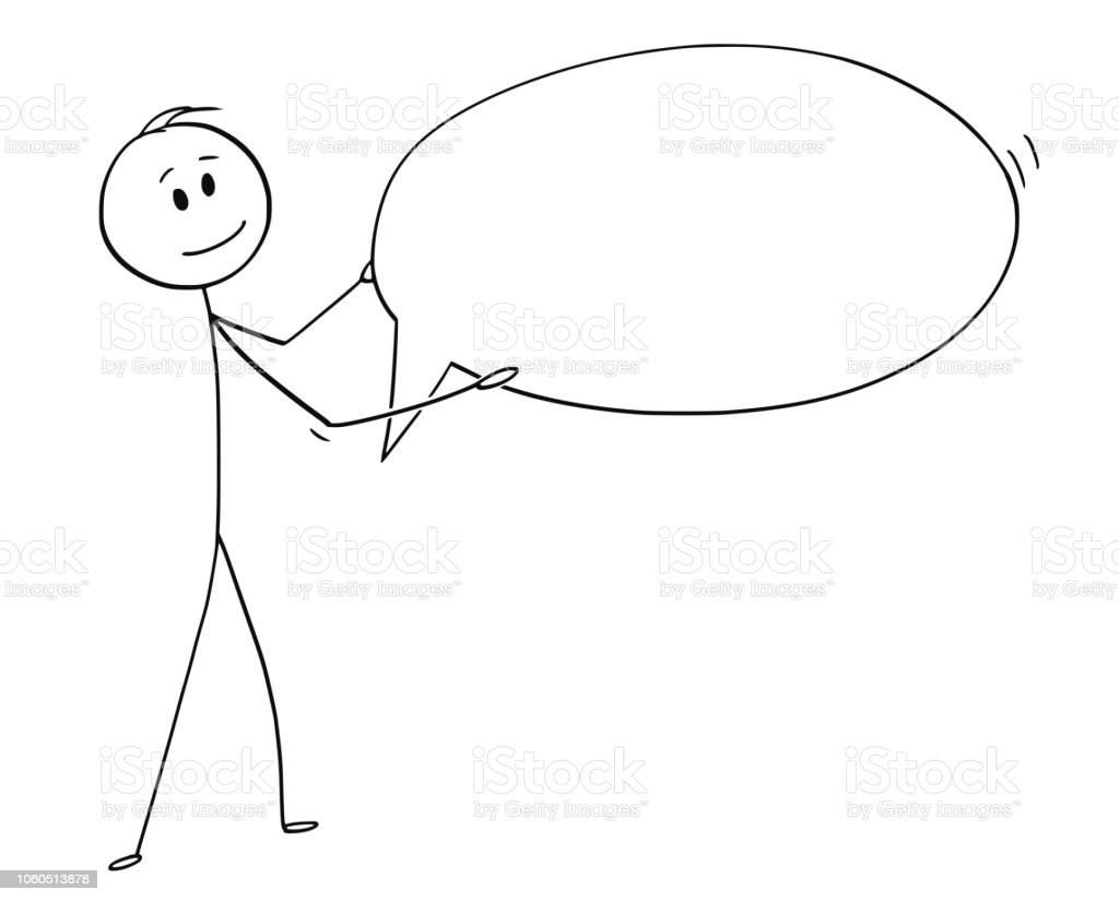 Cartoon Of Man Or Businessman Holding Empty Speech Text Bubble Or