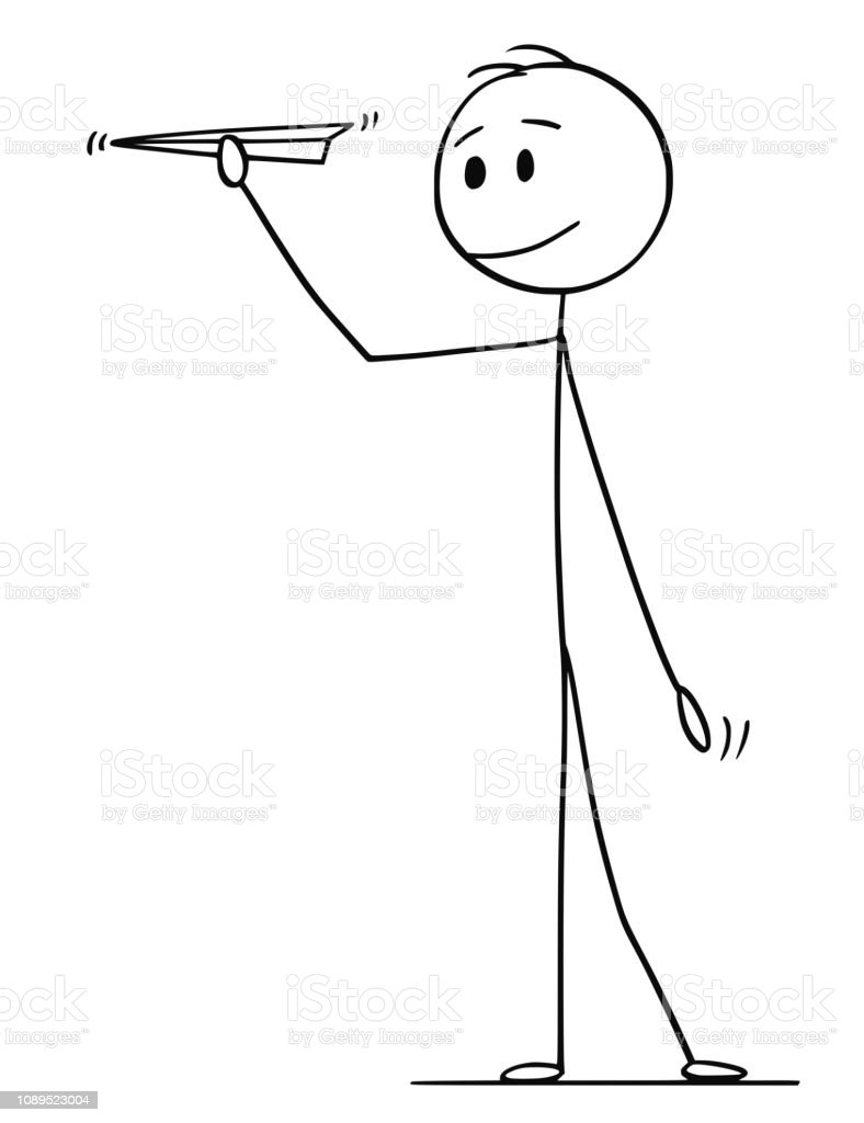 Cartoon Of Man Or Businessman Holding Paper Airplane Stock