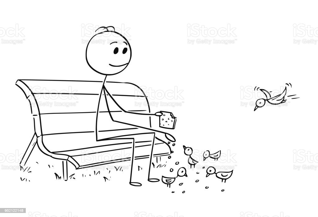 Cartoon of Man or Businessman Relaxing on Park Bench and Feeding Birds