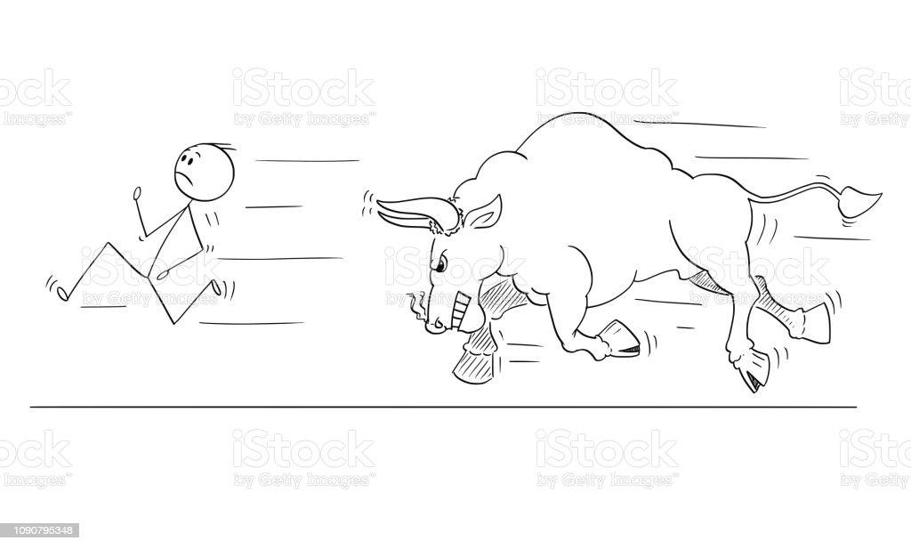 Vetores De Desenho Animado Do Homem Ou Empresario Fugir De Touro
