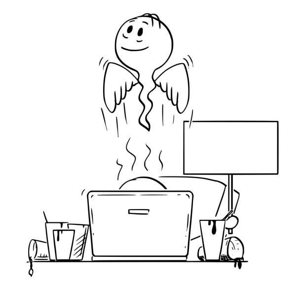 bildbanksillustrationer, clip art samt tecknat material och ikoner med tecknad av man eller affärsman som dog samtidigt arbetar med dator och tom skylt - coffe with death