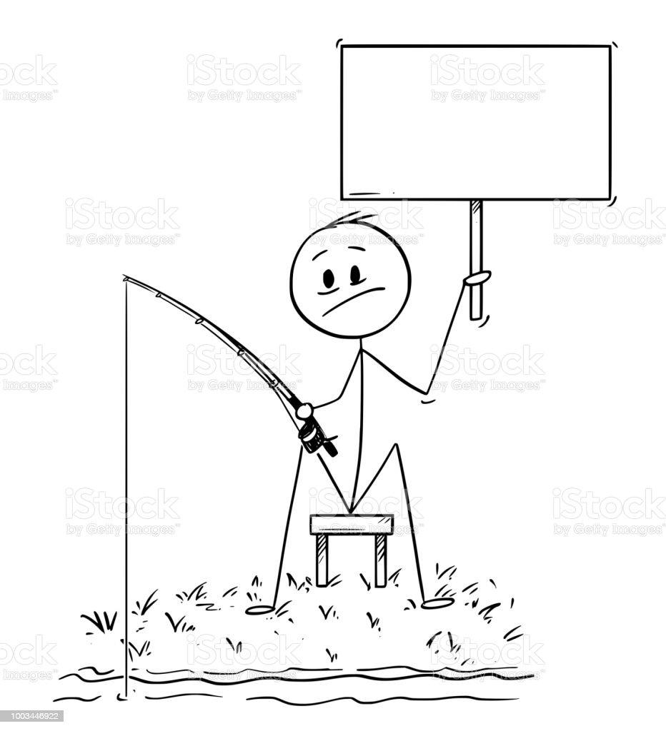 Ilustración de Dibujos Animados De Hombre O De Pescador Pescando En ...