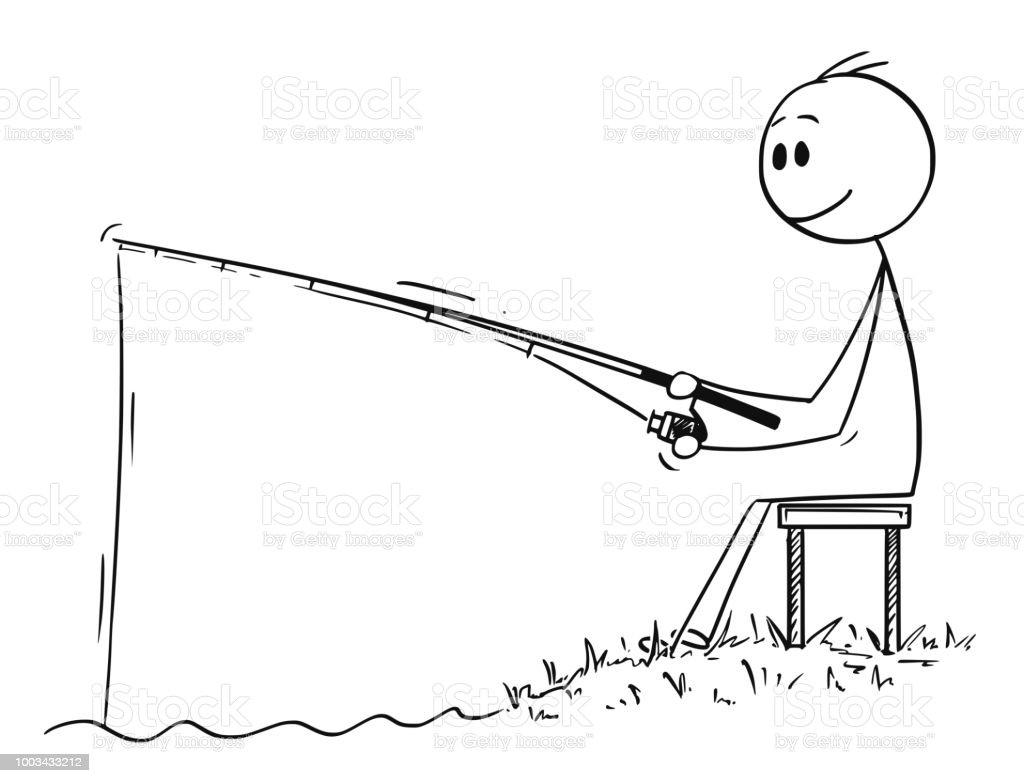 Ilustración de Caricatura De Hombre O Pescador Pesca En El Río O La ...