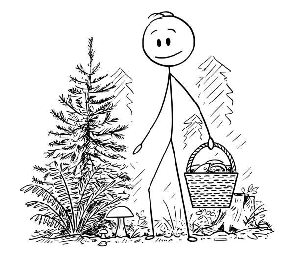 bildbanksillustrationer, clip art samt tecknat material och ikoner med tecknad av mannen plocka ätbart svamp i skogen - höst plocka svamp