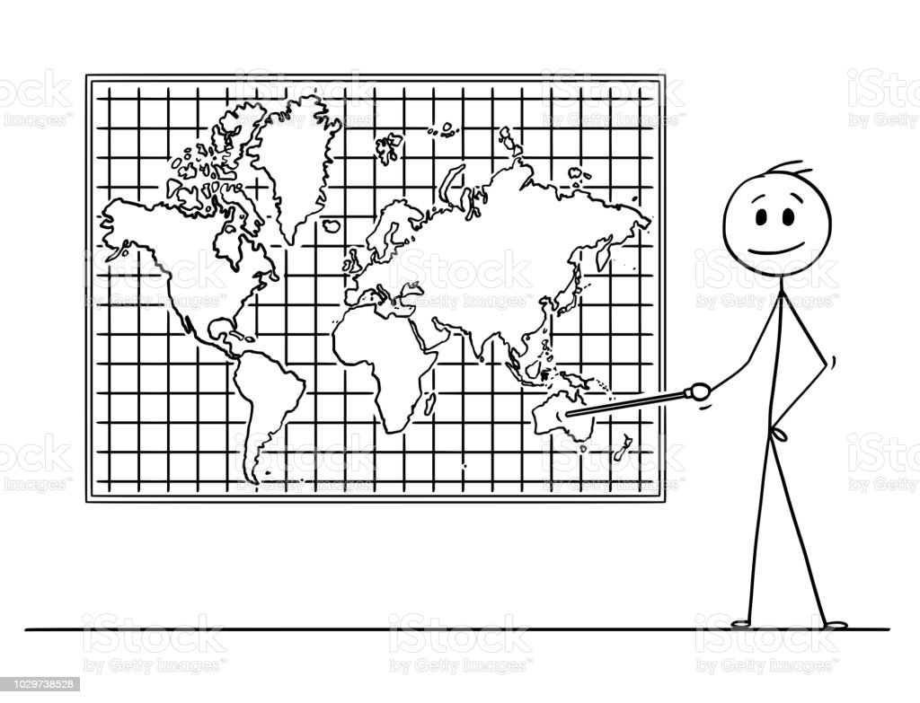 Cartoon Of Man Pointing At Australia Continent On Wall World Map ...
