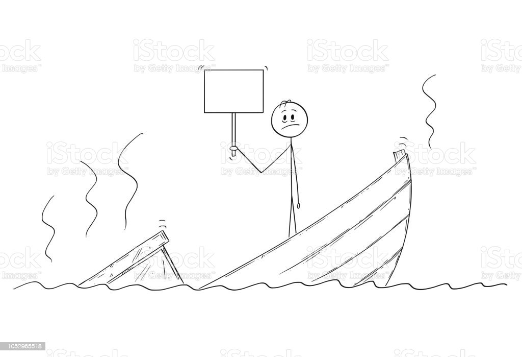 cartoon-of-man-politician-or-businessman-standing-depressed-on-boat-vector-id1052965518