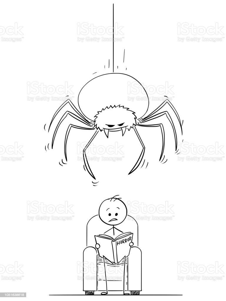 Caricature Dhomme Lisant Un Livre Dhorreur Et Une Araignee