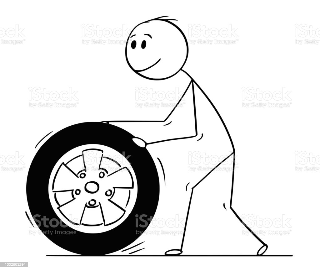 Cartoon Of Man Rolling Car Wheel And Tyre Stock Illustration Download Image Now Istock