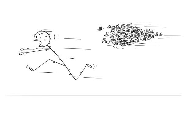 Cartoon of Man Running Away From Attacking Swarm of Bees or Wasps Cartoon stick figure drawing conceptual illustration of man running in panic away from attacking swarm of bees or wasps. swarm of insects stock illustrations