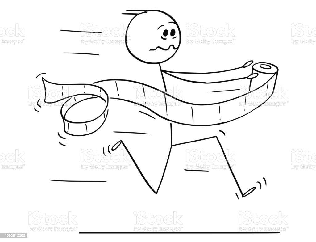 Karikatur Von Mann Läuft In Panik Auf Toilette Oder Bad Oder Wc Mit