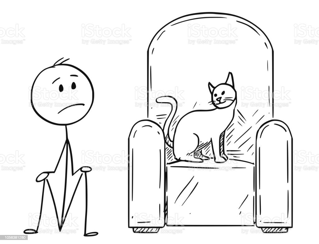 Cartoon of Man Sitting on Ground Because a Cat is Occupying the Armchair vector art illustration