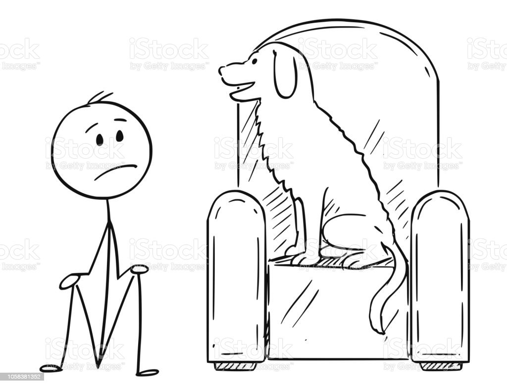 Cartoon of Man Sitting on Ground Because a Dog is Occupying the Armchair vector art illustration