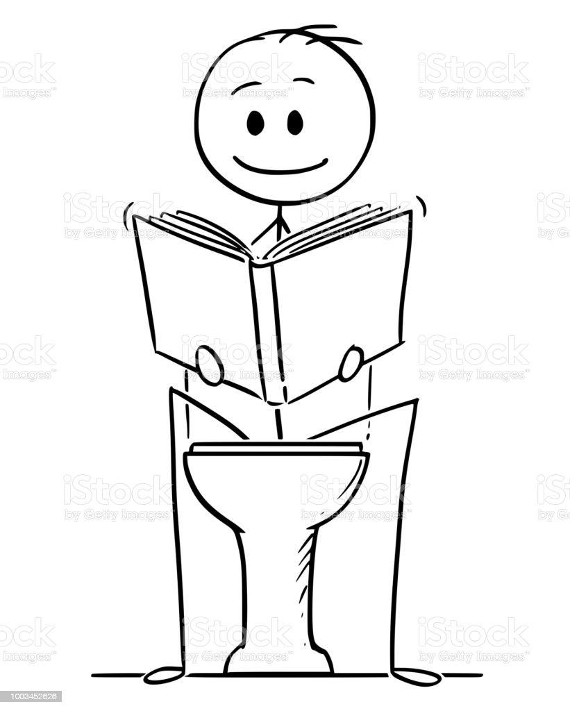 Karikatur Von Mann Auf Toilette Sitzen Und Ein Buch Zu Lesen Stock