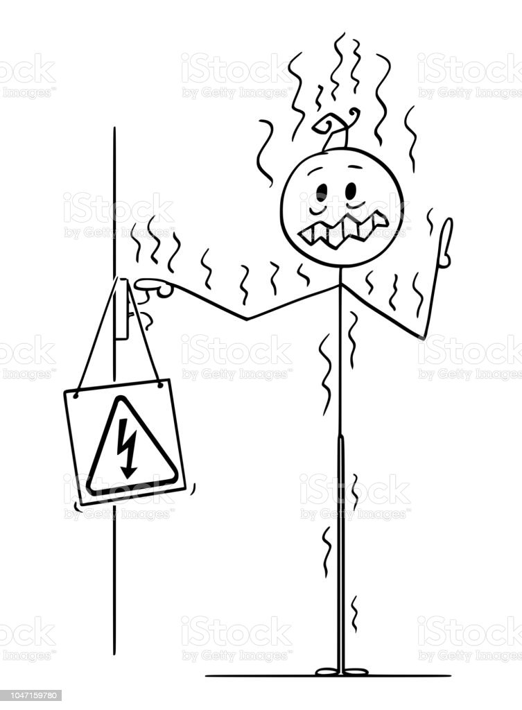 cartoon of man touching uninsulated conductor and got electric power Frankenstein Birthday cartoon of man touching uninsulated conductor and got electric power shock illustration