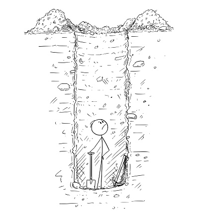 Cartoon of Man Trapped Alone Inside Deep Hole or Water Well He Dig in the Ground