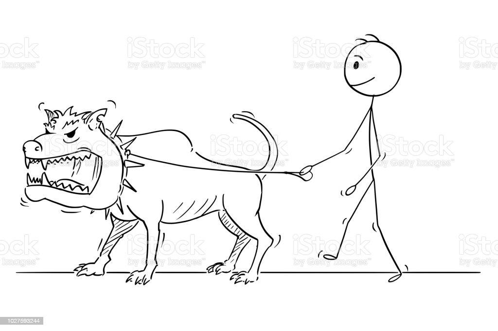 Cartoon Van Man Lopen Met Beest Monster Gevaarlijke Grote Hond