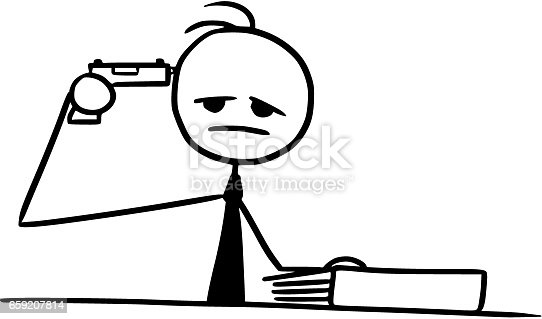 Cartoon Of Man With A Gun Pistol Pointing At His Head ...