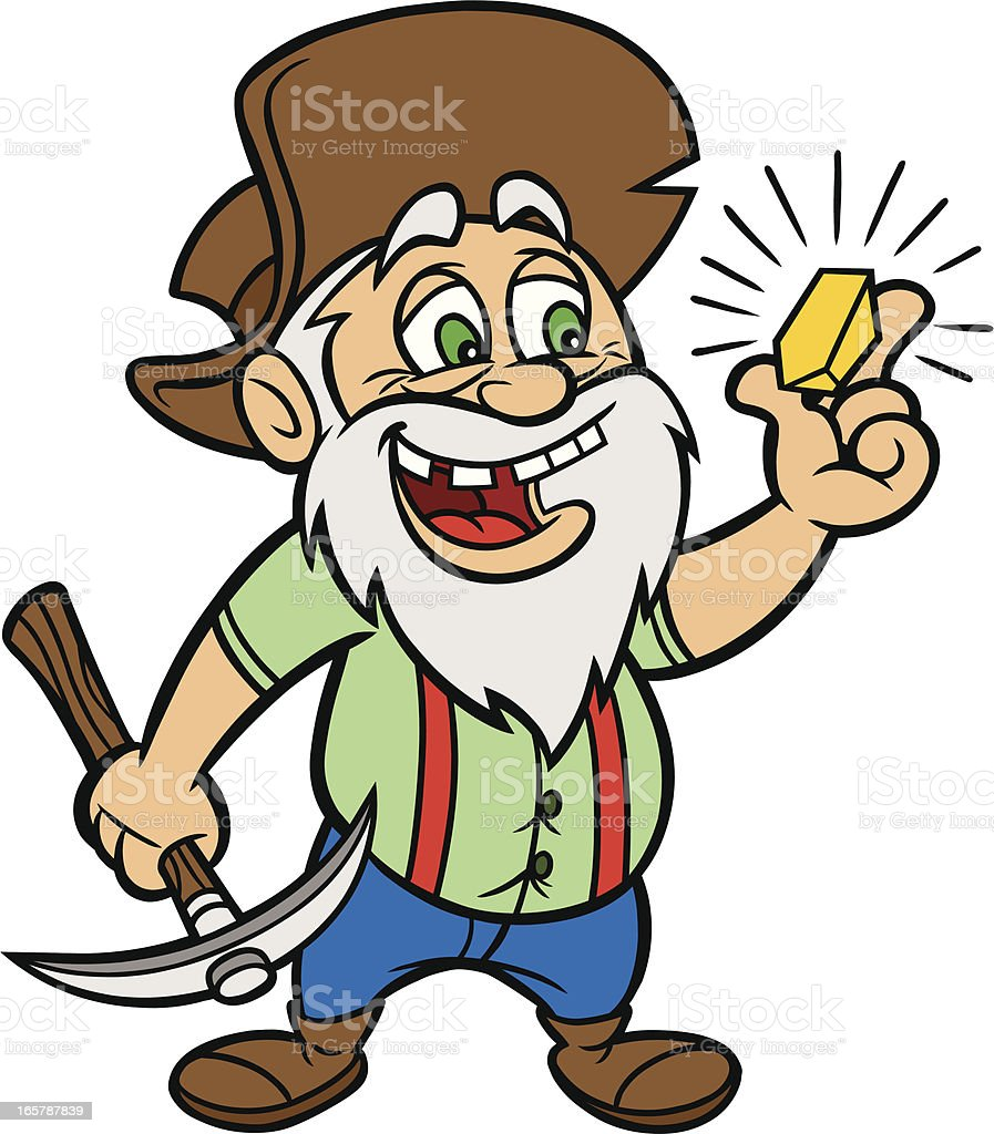 cartoon of man with gold and a hammer stock vector art