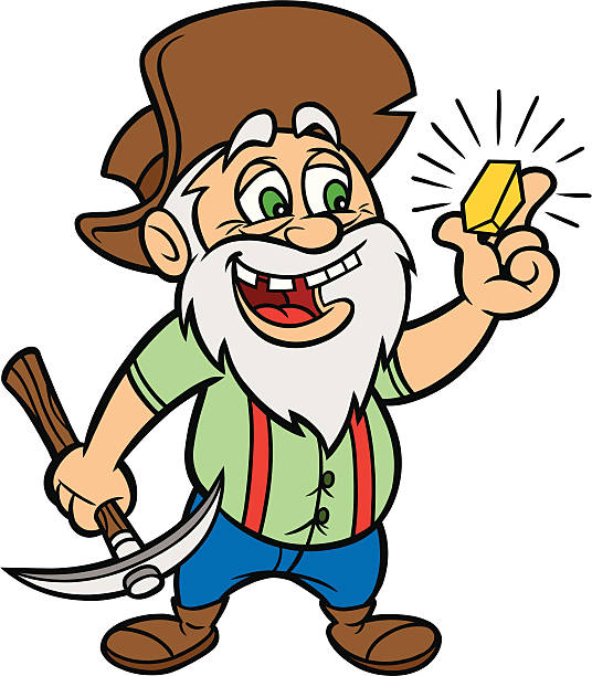 bildbanksillustrationer, clip art samt tecknat material och ikoner med cartoon of man with gold and a hammer - miner
