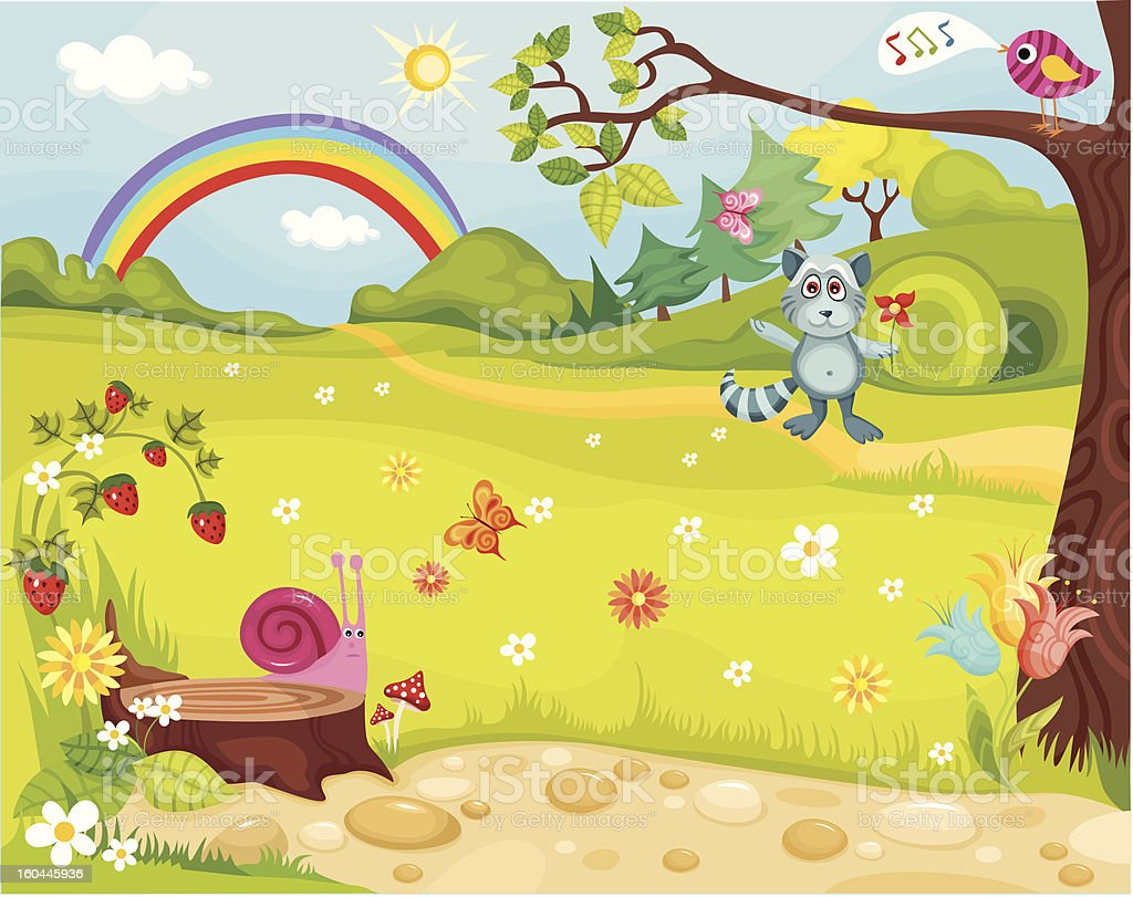 Cartoon of meadow and rainbow and berries royalty-free stock vector art