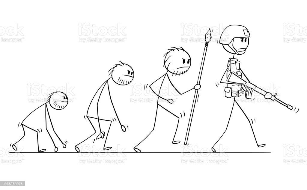 Karikatur Von Modernen Menschlichen Soldaten Oder Krieger Evolution ...