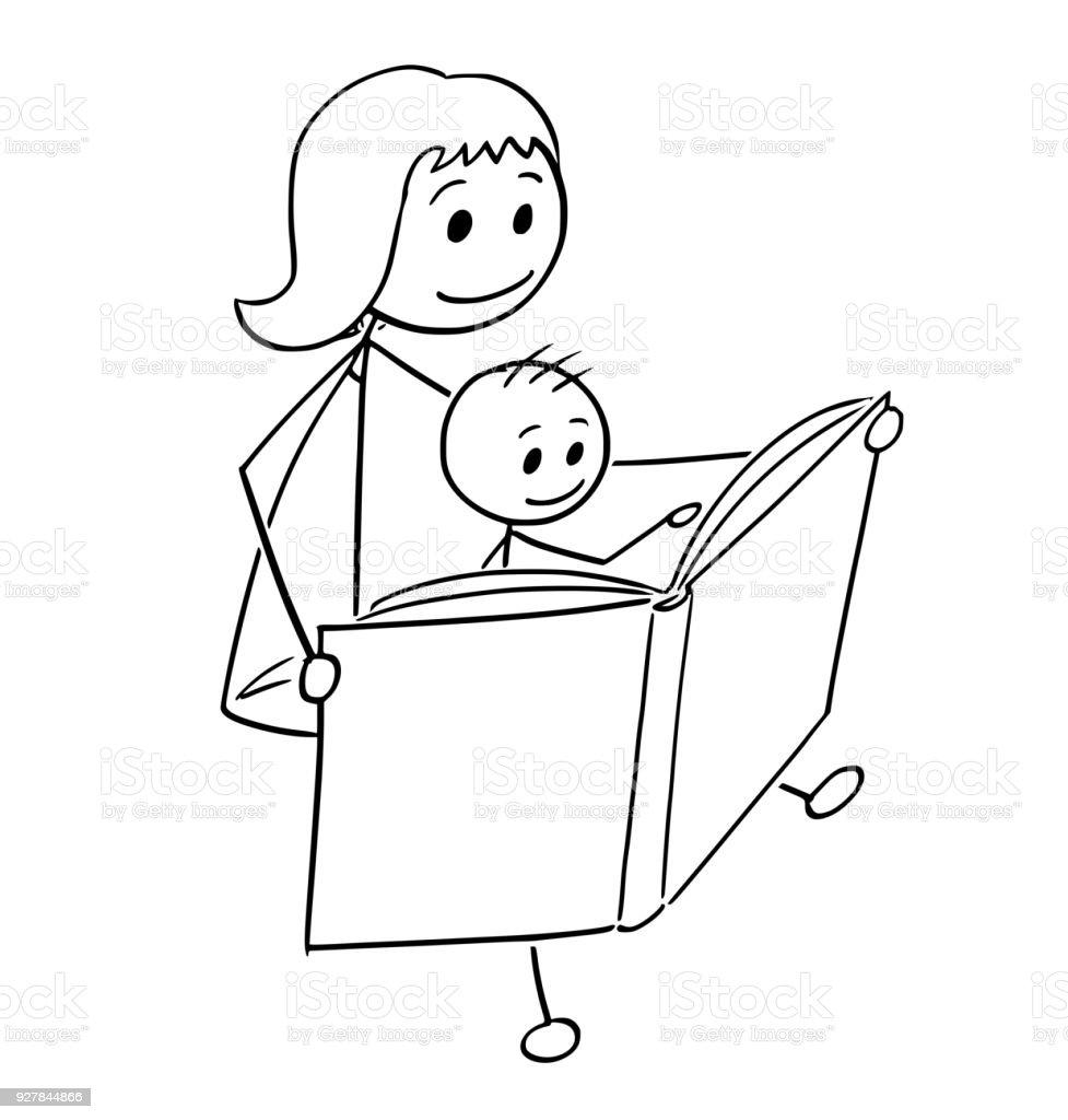 Dessin Anime De La Mere Et Le Fils Lire Un Livre Ensemble