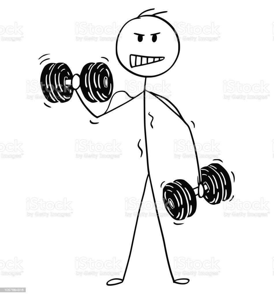 Vetores De Desenhos Animados De Homem Musculoso Levantando