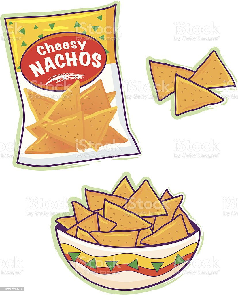 Cartoon of nacho cheese tortilla chips royalty-free stock vector art