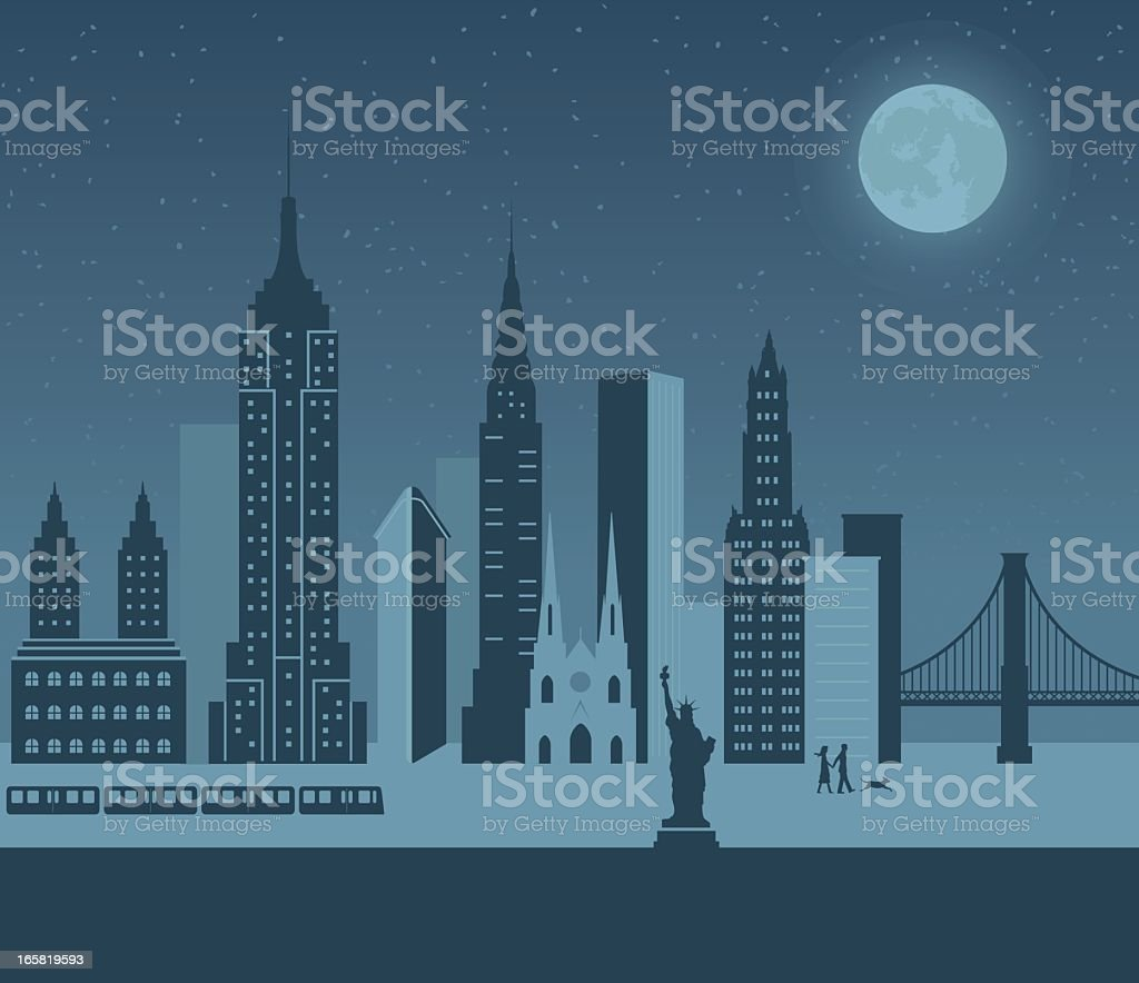 A cartoon of New York at night royalty-free a cartoon of new york at night stock vector art & more images of architecture