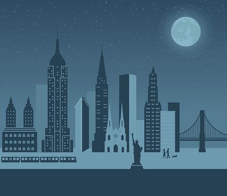 A cartoon of New York at night