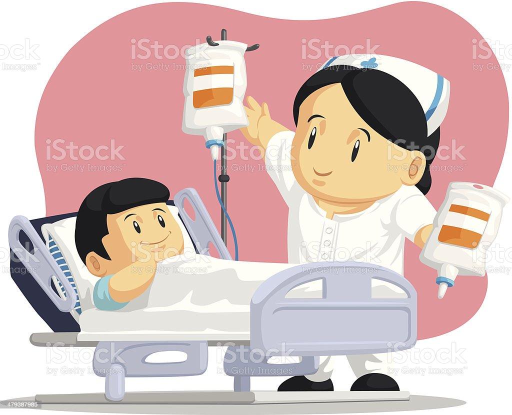 Dibujos Animados De Enfermera Ayuda Paciente Niño