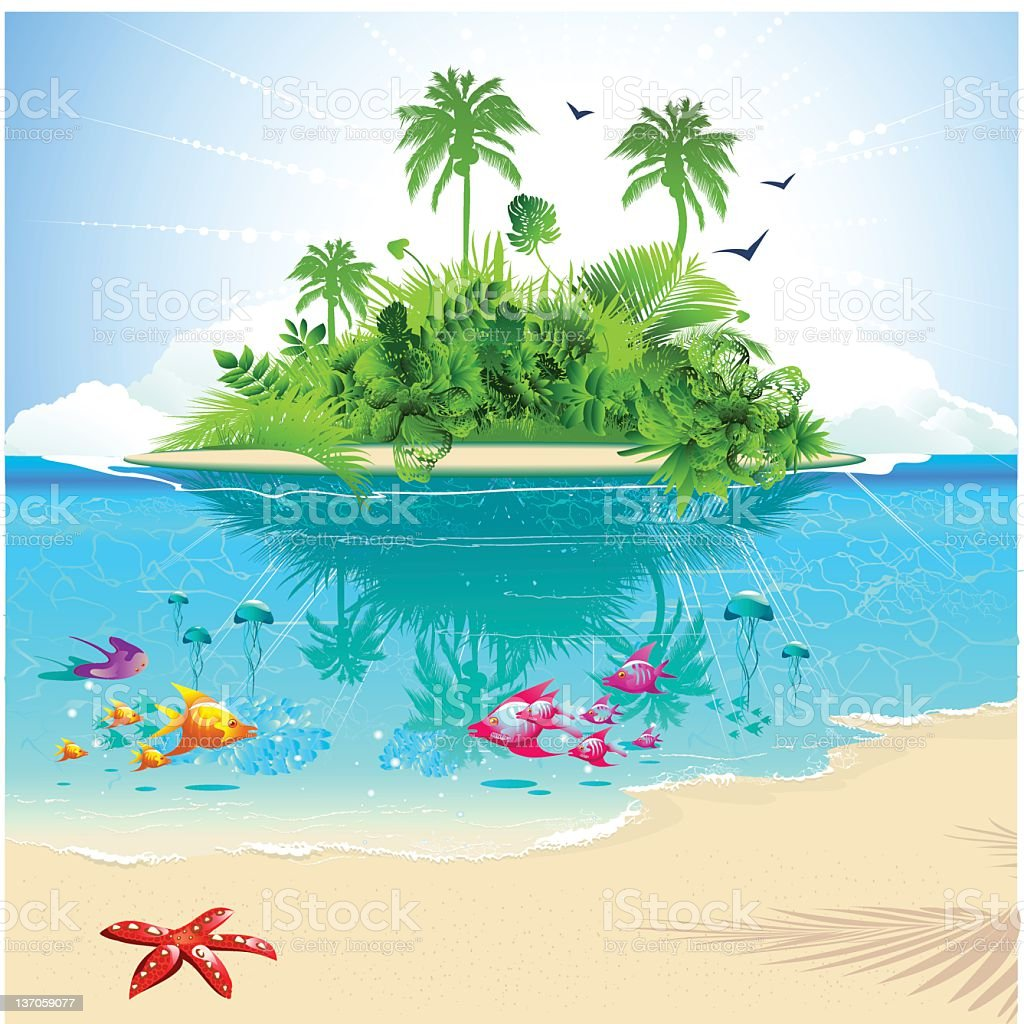 Cartoon of ocean and island with tropical fish and greenery vector art illustration