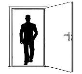 Cartoon of Open Modern Door and Businessman Walking Through