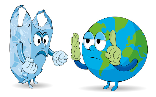 Cartoon of planet earth arguing with an angry disposable plastic bag on white background. Vector image